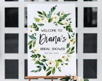 Verdure Floral blanc douche nuptiale signe bienvenu imprimable douche nuptiale signe bienvenu rustique Bienvenue feuille verte Bienvenue signe