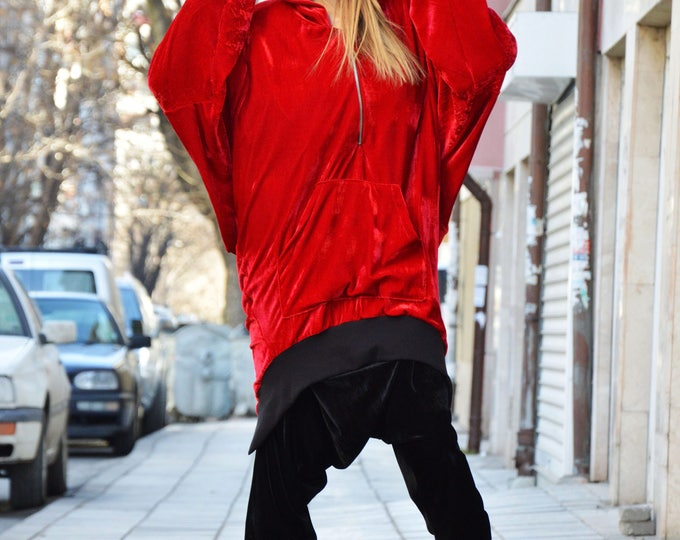 Extravagant Maxi Asymmetric Red Hoodie, Oversize Loose Casual Tunic, Velvet Warm Hooded Sweatshirt by SSDfashion