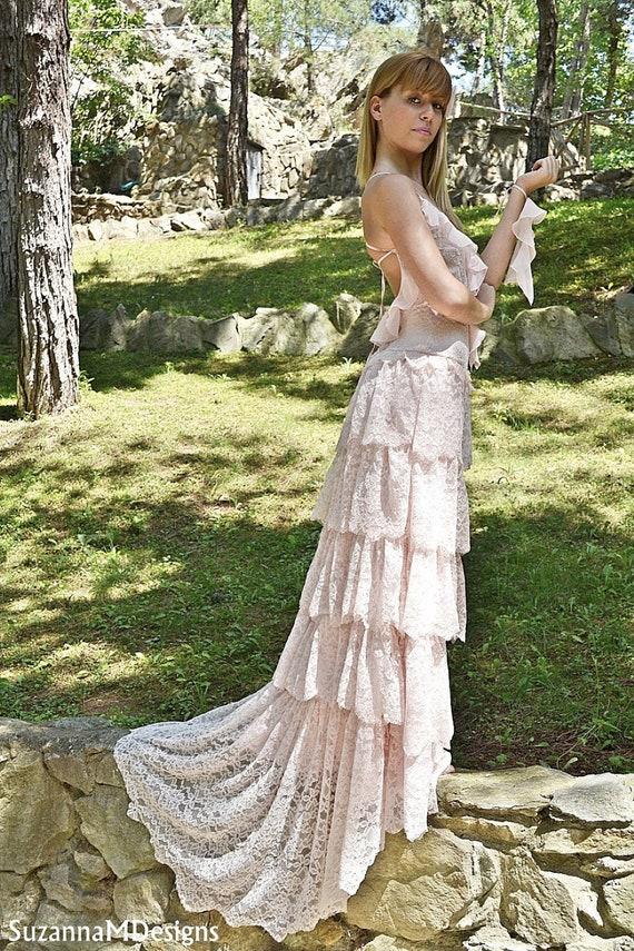 Blush Wedding dress Pink Lace Bohemian Wedding Dress Bridal