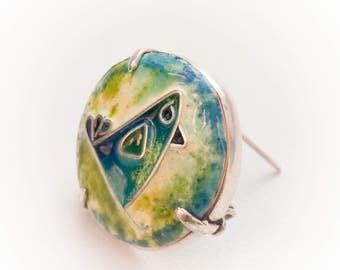 Unique Enamel Brooch Handmade, Enamel Bluebird brooch, cloisonne enamel brooch