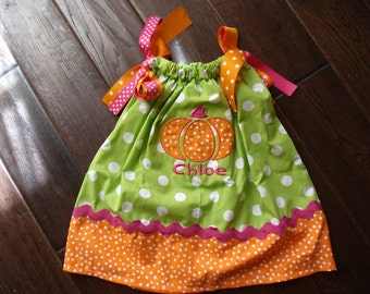 Boutique Fall Chic Pumpkin Pillowcase Dress Sizes 3M to 5T