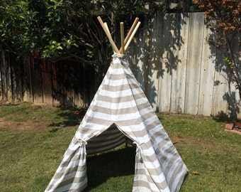 Childs Tee Pee, Toddler Teepee, Gray & White Cabana Stripe Cotton Canvas Kid's Tee Pee, Child's Indoor/Outdoor TeePee Tents, Wood Poles