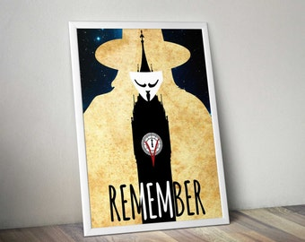 V for Vendetta - Starry Paper - Art Print - Wall Art - Movie Poster - Natalie Portman Hugo Weaving