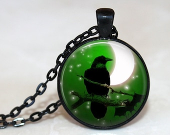 Quoth the Raven, Nevermore Pendant, Necklace or Key Chain - Choice of 4 Bezel Colors - Halloween Pendant