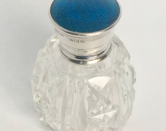 Antique Cut Crystal Perfume Bottle - Hallmarked 1924