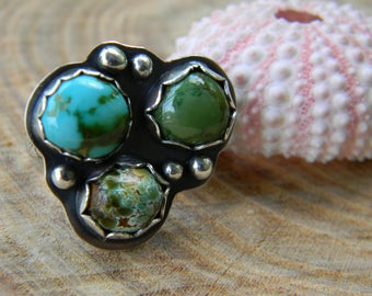 Beautiful Cheyenne Turquoise triplet ring - sterling silver - three stone ring - size 6.25