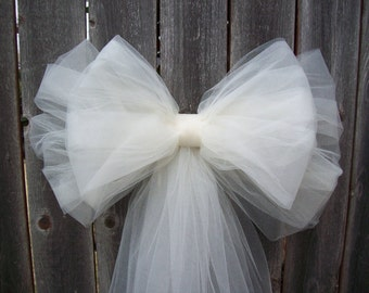 Tulle Pew Bow, OVER 20 COLORS, Tulle, Church Pew Decor, Tulle Pew Bow, Quinceanera Decorations, Formal Wedding, Aisle Decor, Communion