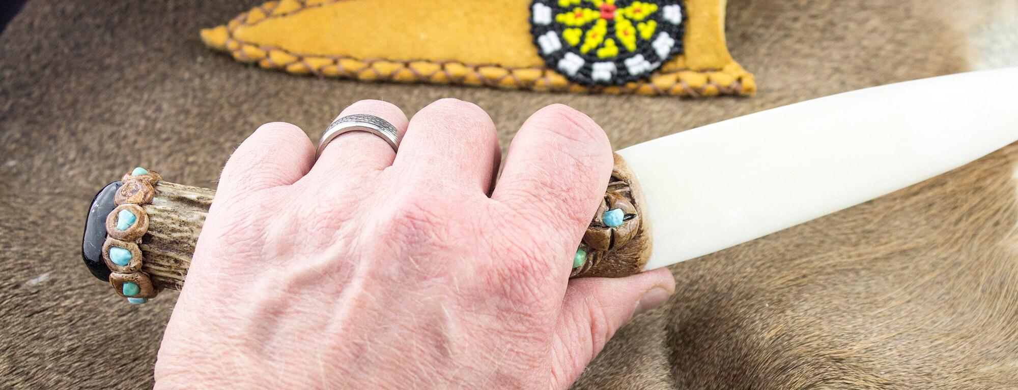 Bone Knife - Handmade Native American Deer Antler Bone Knife With ...