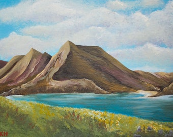 Original Acrylic Landscape Painting. 'View from Rassay' Isle of Raasay. Scotland