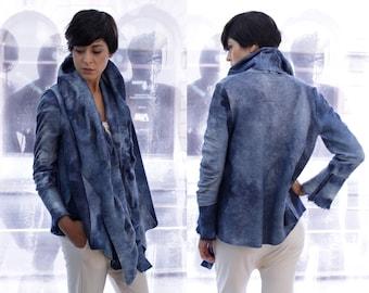 Blue Wool Jacket, Oversized Cardigan, Felted Wool Cardigan, Felted Jacket, Blue Jacket, Tiedye Coat, Ana Livni