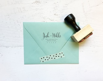 Custom calligraphy address stamp - the Nikki - gifts, invitations, housewarming, wedding - wood mounted with handle OR self-inking