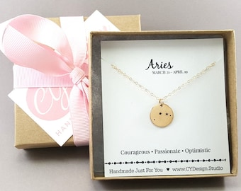 Aries Zodiac Necklace - Constellation Necklace - Gold Fill Necklace - Simple Jewelry - Astrology Necklace - Gold Jewelry - Gift for Her