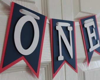 Red and Navy Banner High Chair Banner, One Banner, Happy Birthday Banner, I Am One Banner, I Am Two Banner