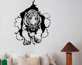 Tiger Ripped Wall Decal Removable Vinyl Sticker Wildcat Wildlife Art Safari Animal Decorations for Home Living Dorm Room Bedroom Decor tgr1