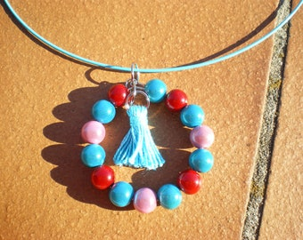 Necklace blue Choker with blue, red and pink magic beads and tassel, gift, holiday, birthday