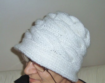 White Womens Hat cloche gift for woman gift, hand knitted, Knit, Winter Hat, Women's hat, for her, Mom, Mothers Day, Mother's Day Gift