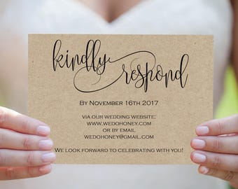 Printable Wedding Postcard - RSVP Card Template - Print on Kraft - Modern Calligraphy RSVP Wedding - Downloadable wedding #WDH301_4