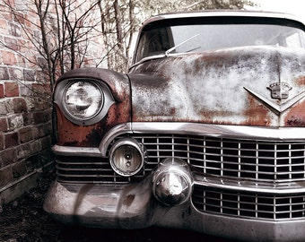 Vintage Car Photograph, Cadillac Photograph, Rusted, Caddy, Old Car Photo