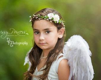 Halo, Flower Halo, Photo Prop, Child, Adult, Ivory Flower Halo, Boho, Flower Wreath, Flower Crown, White Halo, Flower Headband, Floral