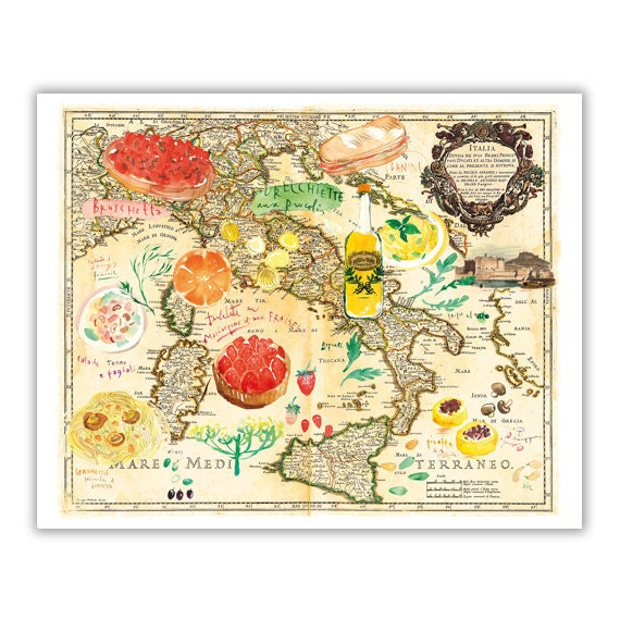Italy map poster Colorful Italy kitchen wall decor