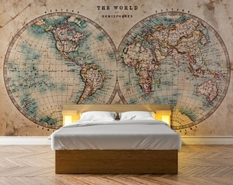 Old map decal etsy old stained world map photo wallpaper removable wall wallpaper peel and stick non woven wall mural wall decal wall mural w65 gumiabroncs Images