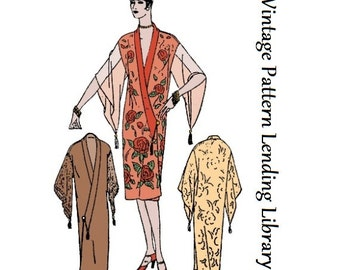 1927 Ladies Kimono Style Negligee - Reproduction Sewing Pattern #Z1178