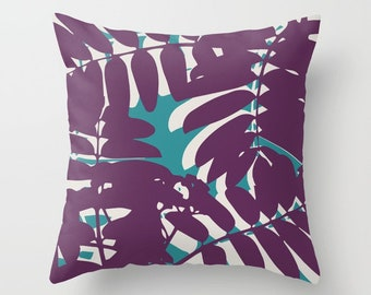 Leaves Pillow with insert - Tropical Leaves Pillow - purple and teal pillow - Accent Flower Pillow - Modern Flower Pillow - Aldari Home