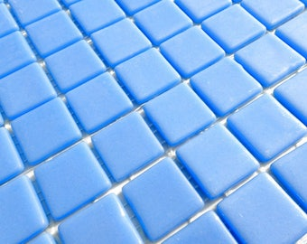 Medium Blue Glass Mosaic Tiles Squares - 1 inch - 25 Tiles for Craft Projects and Decorations - Dark Sky Blue Recycled