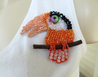Bird Brooch Toucan Pin Swarovski and Seed Bead Art to Wear Gift! INBW