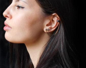 Double piercing earring, Ear Cuff Earrings for double piercing, Chain cuff earrings, Double stud earrings