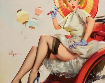 Pin Up Girl Art Print Reproduction, something bothering you 1957 by Gil Elvgren