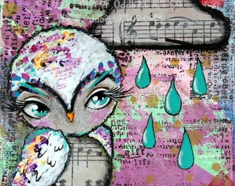 Mixed Media Owl Big Eye Art Giclee Print Signed Reproduction Love Drops No.2 by Lizzy Love [IMG#69]