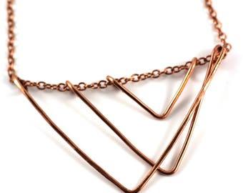 Geometric Copper open triangle Necklace | Copper Triangle Necklace | Pendant | Art Deco | Necklace Victoria BC Vancouver Island Canada