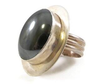 Hematite Ring Sterling Ring Statement Ring Adjustable Ring Designer Ring Sterling Silver Vintage Ring VHC Ring