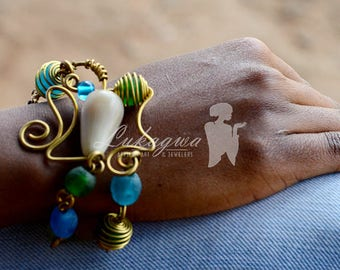 Green Chain and link Afrocentric bracelet,Blue African Brass bracelet,Afrocentric Beaded bracelet