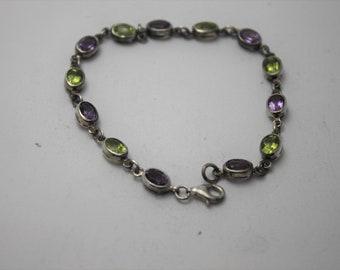 Peridot , Amethyst and Silver Bracelet