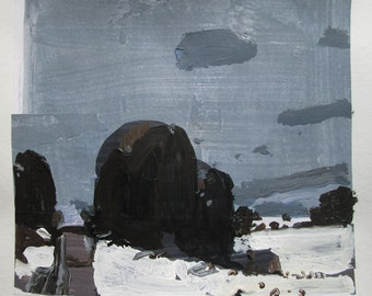 Cedar Pass, Original Winter Landscape Collage Painting on Paper, Stooshinoff