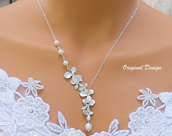 Orchid Necklace - Freshwater Pearl Necklace, Orchid Cascade, Wedding Jewelry, Bridal Jewelry, Bridesmaids Gift Ideas