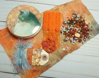 Inspiration Kit in Vintage Cat Tin - Orange Brown Gray and White - Stocking Stuffer or Small Gift for Crafter or Cat Lover
