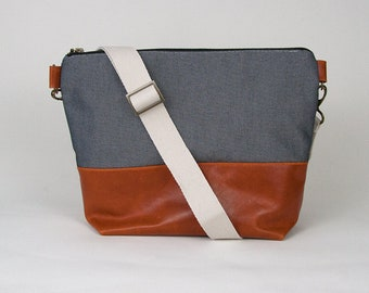 Crossbody Bag Purse Hand Bag Handbag Leather Messenger Bag Shoulder Bag Blue Cognac