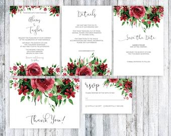 Wedding Invitation template,Set, Printable Burgundy Wedding Invitation set, Marsala Wedding Invitation, Floral Wedding Invitation Set,PDF