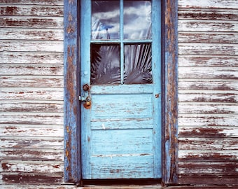 Blue Door Photography, Old Door Art, Rustic Wall Art, Architecture Print, Canada Village, Shabby Chic Decor, Peeling Paint Rustic