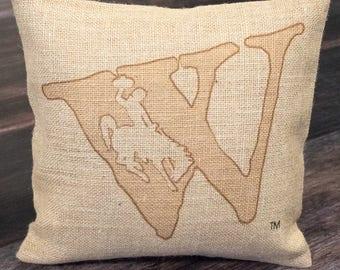 Wyoming state brand bucking horse burlap throw pillow - WYO Cowboy state pride pillow