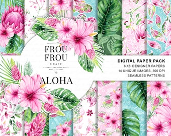 Exotic Paper Pack Tropical Summer Scrapbook Papers Watercolor Floral Digital Backgrounds Botanical Seamless Patterns Printable Planner