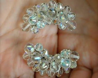 "Vintage ""Laguna"" Earrings Aurora Borealis Crystal clips 50's"