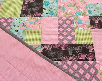 Fun Pink (with a little blue) Quilted Throw