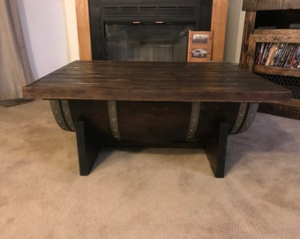 Handmade Wine Barrel Coffee Table