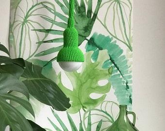 Lampe, garden pendant, crocheted in green, 6 meter cord