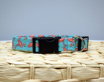 Dog Collar – Summer Dog Collar – Flamingo Dog Collar - Beach Dog Collar - Handmade Everyday Fabric Dog Collar