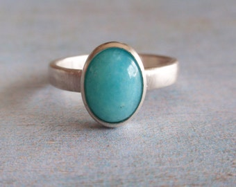 Amazonite ring, sterling silver ring with oval amazonite cabochon, aqua blue silver ring, oval cabochon ring